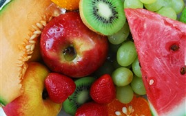 Preview wallpaper Many kinds fruit, grapes, apple, melon, watermelon, strawberry, kiwi
