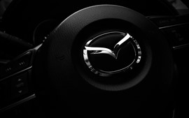 Mazda logo, steering wheel
