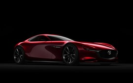 Preview wallpaper Mazda red supercar side view, black background
