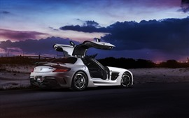 Preview wallpaper Mercedes-Benz SLS white supercar side view, doors opened