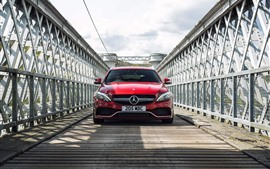 Preview wallpaper Mercedes-Benz red car front view, bridge