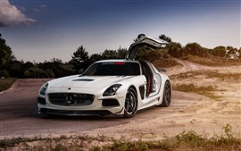 Mercedes SLS supercar blanco