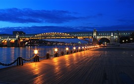 Preview wallpaper Moscow, night, bridge, river, lights, Russia
