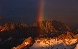 Mountain, snow, rainbow