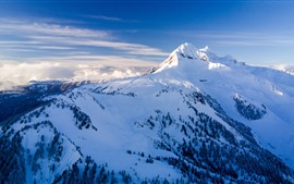 Mountain top, vertex, snow, clouds, winter