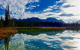 Mountains, lake, trees, sky, clouds, water reflection