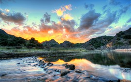 Preview wallpaper Mountains, river, sunset, clouds, stream, USA