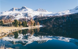 Preview wallpaper Mountains, snow, trees, lake, water reflection, winter