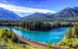 Preview wallpaper Mountains, trees, railroad, lake, blue sky