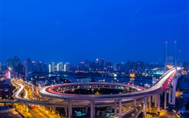 Preview wallpaper Nanpu Bridge, lights, night, river, road, city, Shanghai