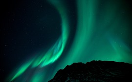 Northern lights, starry, stars, night, mountain