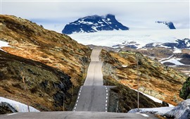 Preview wallpaper Norway, road, snow, mountains, winter