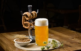 Preview wallpaper One cup beer, bread, wheat