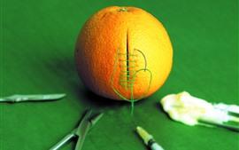 Aperçu fond d'écran Orange, couture, image créative