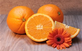 Oranges, flower, fruit