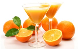Oranges, glass cups, juice, drinks