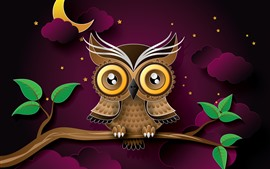 Preview wallpaper Owl, tree branch, leaves, clouds, night, moon, art picture
