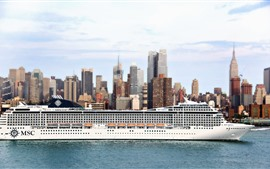 Preview wallpaper Passenger liner, ship, city, sea