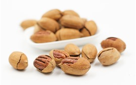 Preview wallpaper Pecan, walnut, nuts, white background