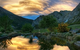 Preview wallpaper Pond, mountains, animal, clouds, dusk