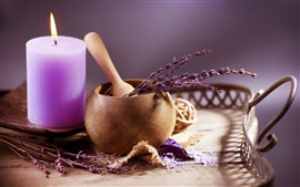 Preview wallpaper Purple candle, fire, flowers, still life