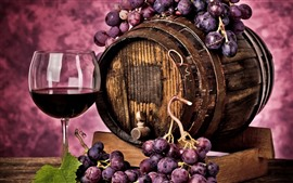 Preview wallpaper Red grapes, wine, barrel