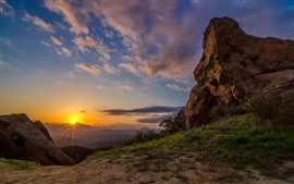 Preview wallpaper Rocks, sunset, mountain top