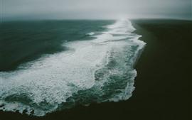 Aperçu fond d'écran Mer, plage, brouillard