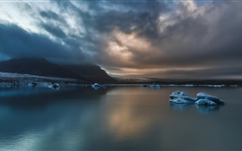 Sea, ice, mountains, clouds, dusk