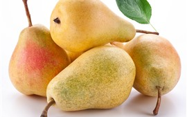 Some pears, white background