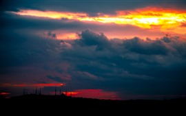 Sunset, thick clouds, towers, night