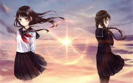 Preview wallpaper Two anime girls, sunshine