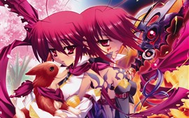 Preview wallpaper Two red hair anime girls, dog