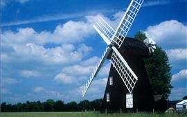 Preview wallpaper Windmill, fields, blue sky, clouds