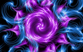 Abstract flower, purple and blue, fractal
