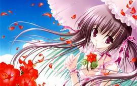 Аниме девушка, зонт, красные цветы