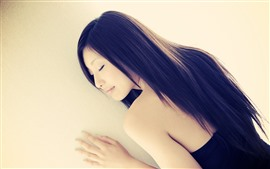 Preview wallpaper Asian girl, long hair, sleep