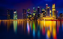 Preview wallpaper Beautiful city night view, Singapore, colorful lights, skyscrapers, sea