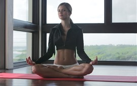 Preview wallpaper Beautiful girl, yoga, pose, window
