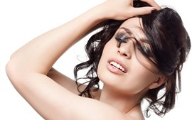 Preview wallpaper Black hair girl, fashion, pose, white background
