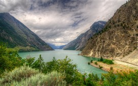 Preview wallpaper Canada, mountain, lake, trees, clouds, nature landscape