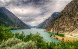 Канада, гора, озеро, деревья, облака, природа пейзаж