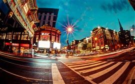 Chinatown, encruzilhada, luzes, cidade, noite, EUA