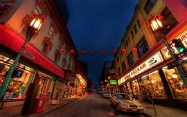 Preview wallpaper Chinatown, road, cars, store, lights, city, night, USA
