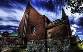 Igreja, tijolos, nuvens, árvore, crepúsculo