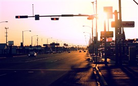 City, road, cars, lights, sunset, glare