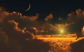 구름, 일몰, 달, 하늘