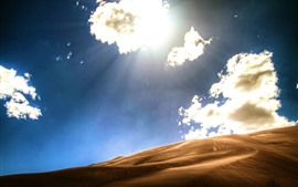 Preview wallpaper Desert, clouds, sunshine, hot