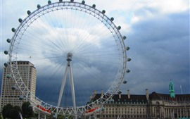 Preview wallpaper Ferris wheel, London, city, clouds