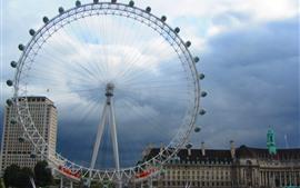 Aperçu fond d'écran Grande roue, Londres, ville, nuages